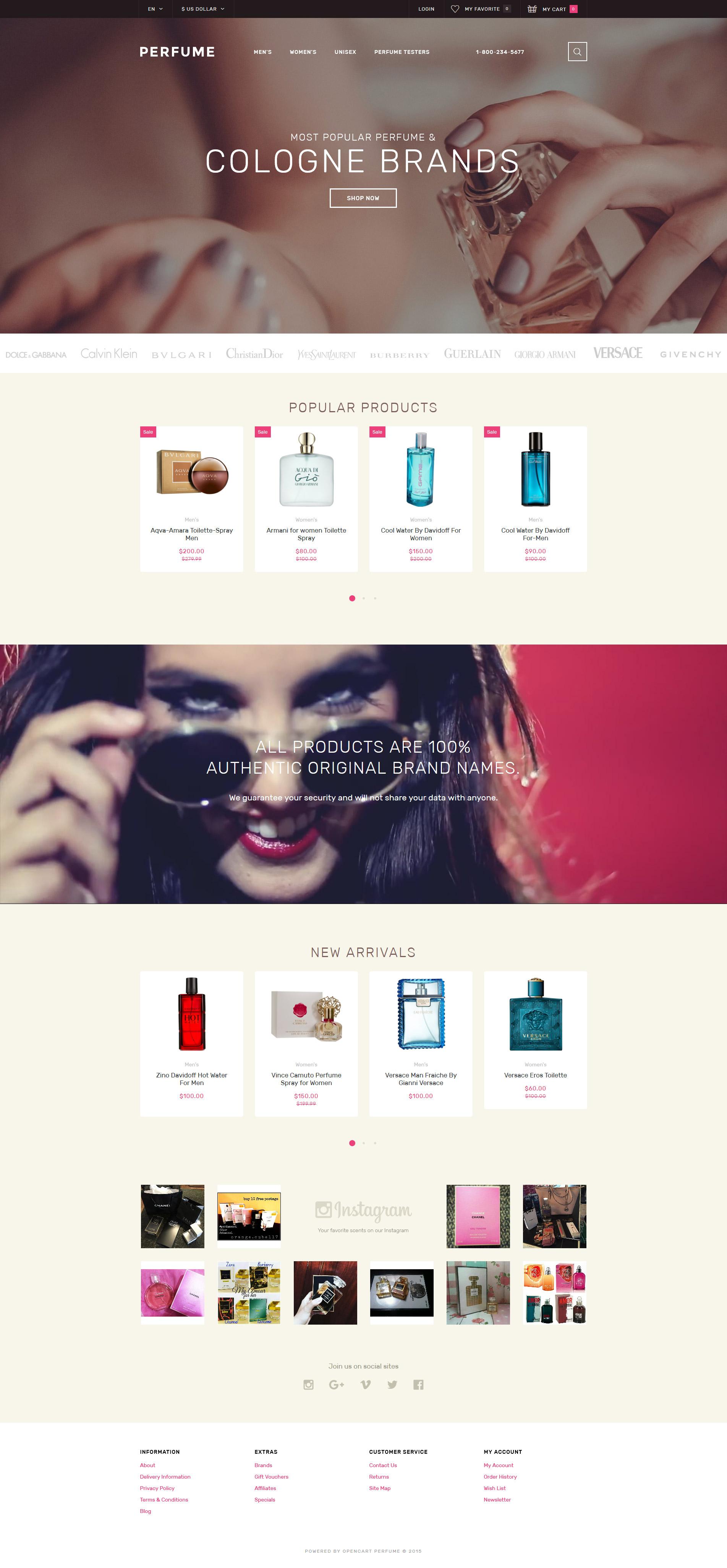 """Perfume Shop"" - адаптивний OpenCart шаблон №58164"