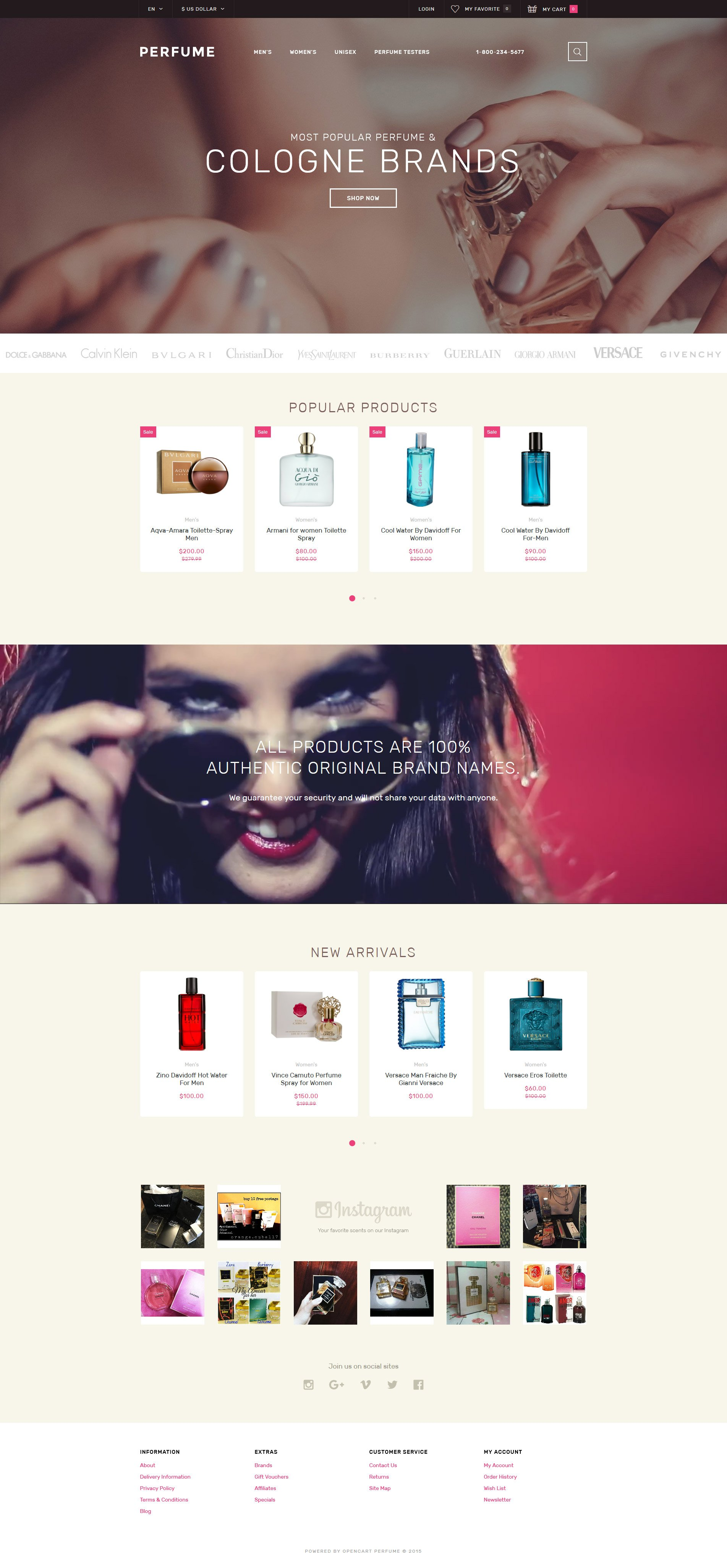 Perfume Shop OpenCart Template - screenshot