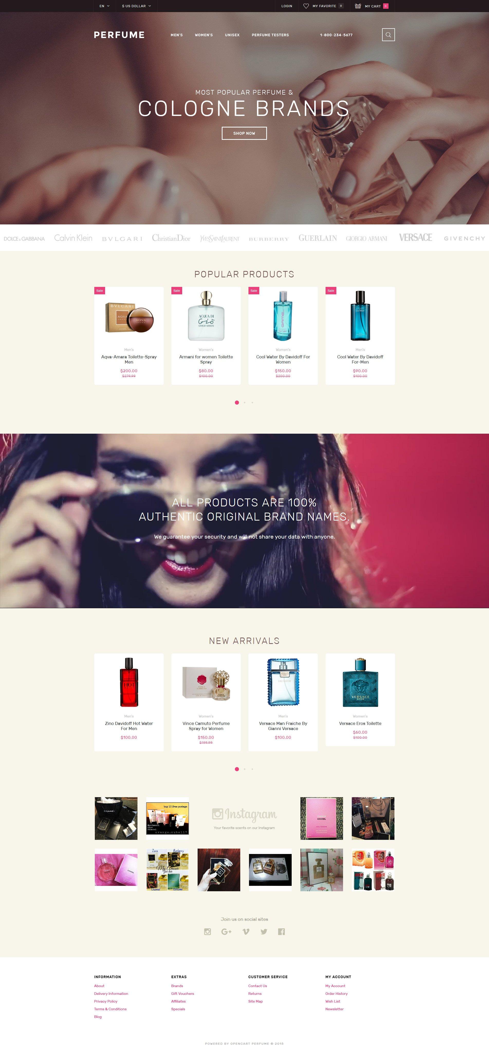 """Perfume Shop"" 响应式OpenCart模板 #58164"