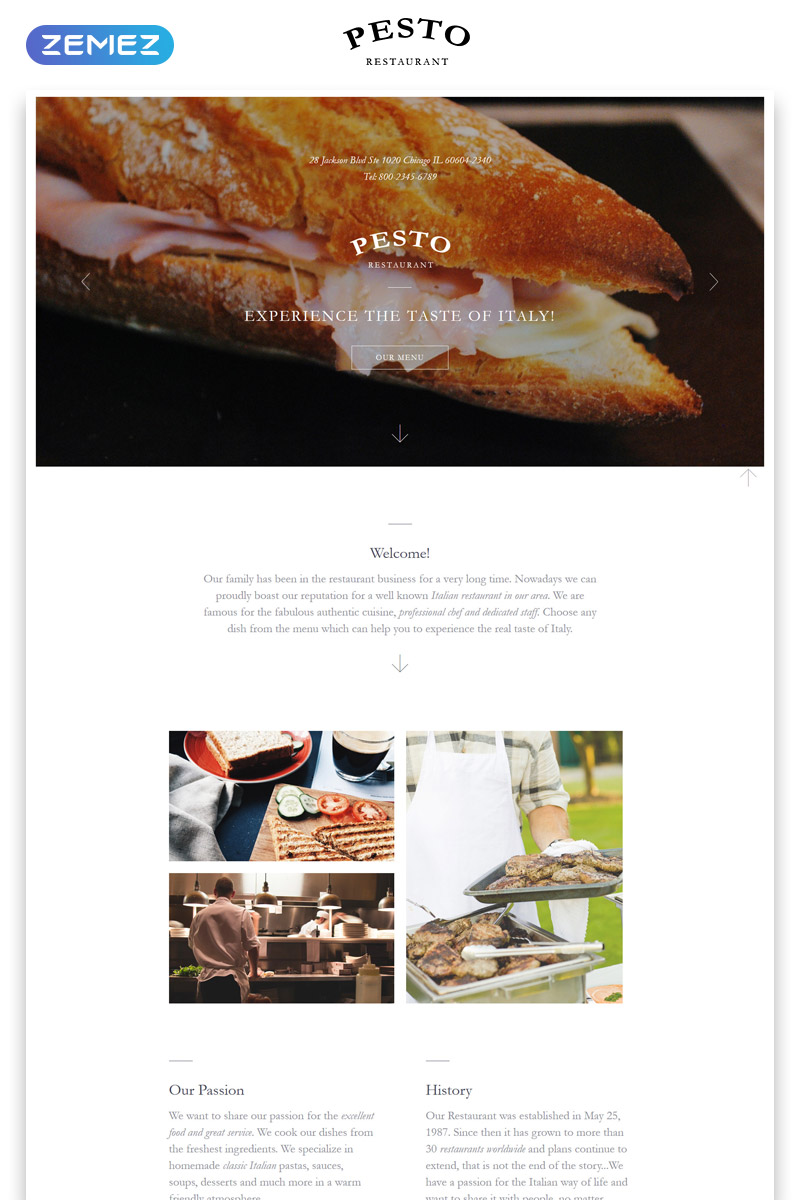 """Pesto - Cafe and Restaurant Clean HTML"" 响应式着陆页模板 #58125"