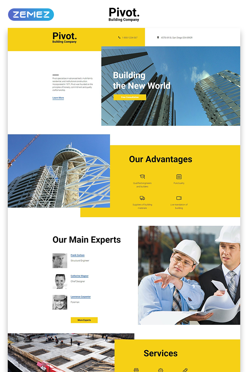 Pivot - Construction Company Clean HTML Landing Page Template
