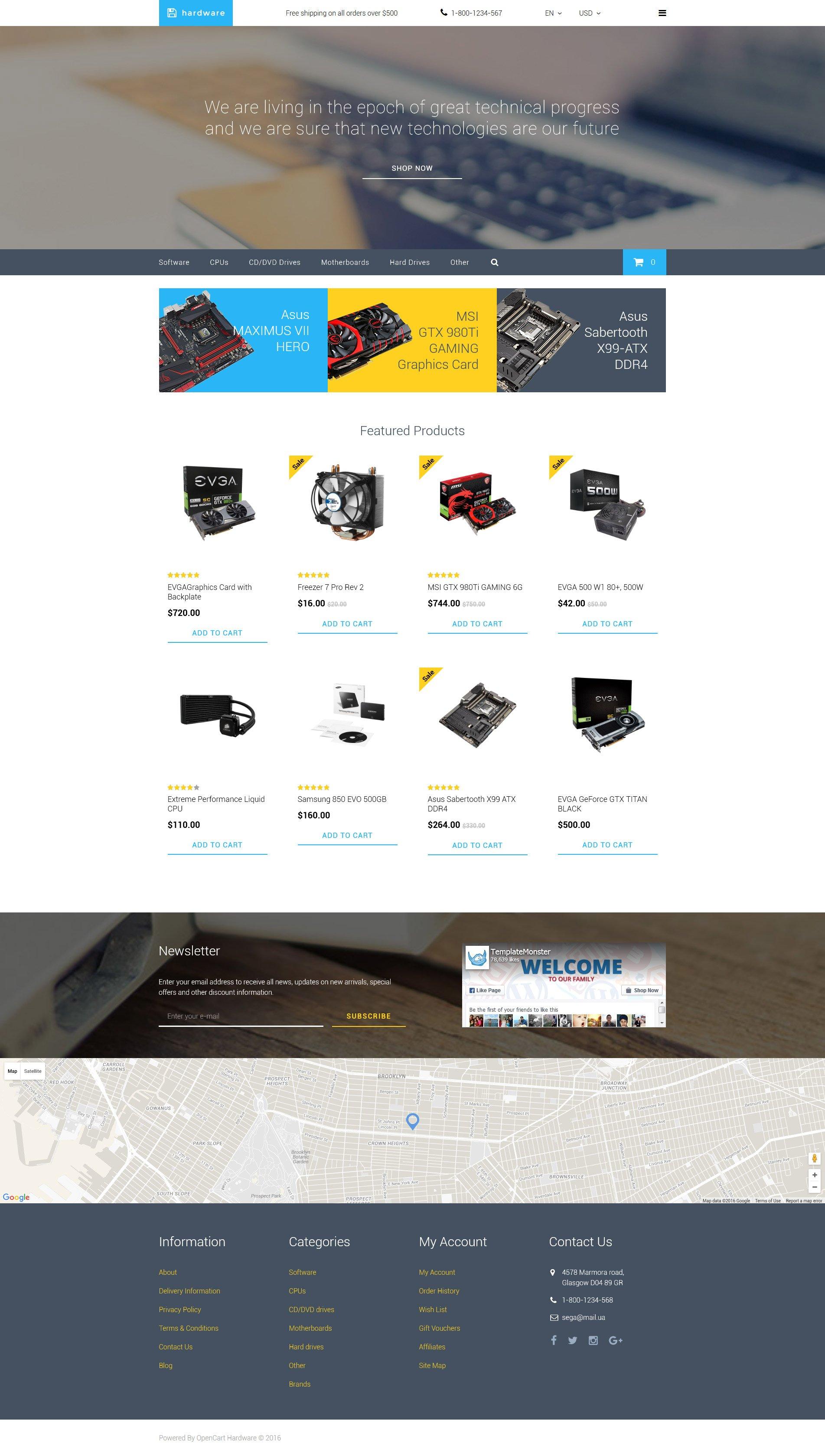"Plantilla OpenCart ""Hardware"" #58174"