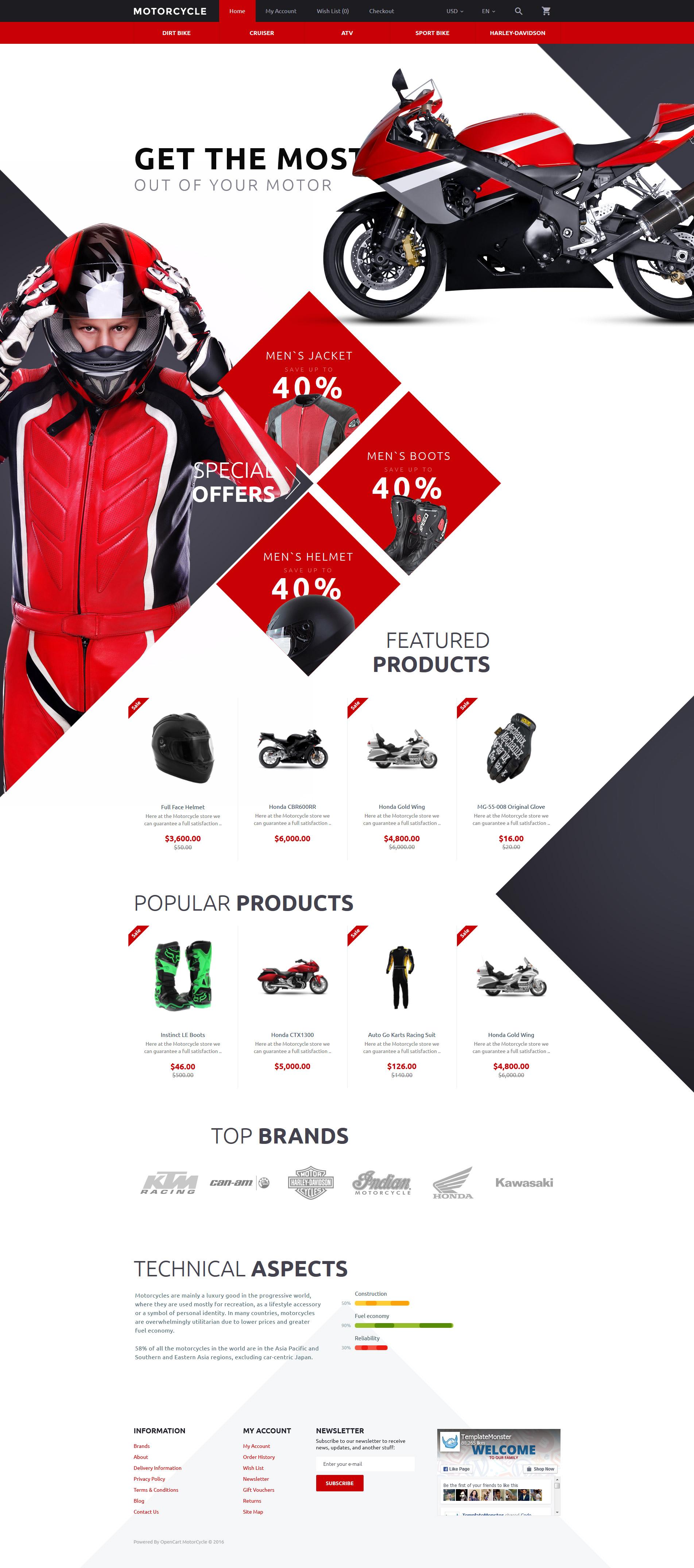 """Plantilla OpenCart """"Motorcycle"""" #58117"""
