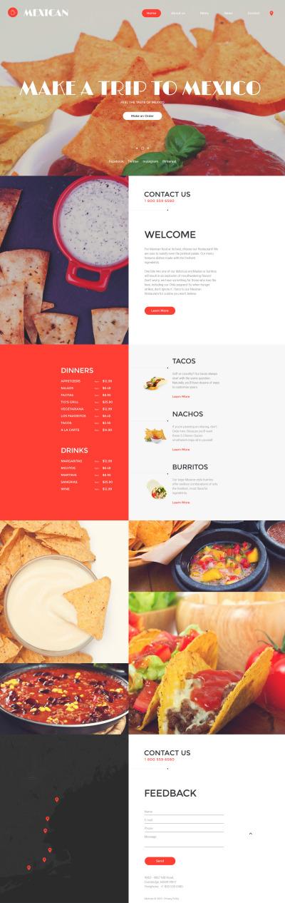 Responsive Plantilla Web #58197 para Sitio de  para Sitio de Restaurantes mexicanos