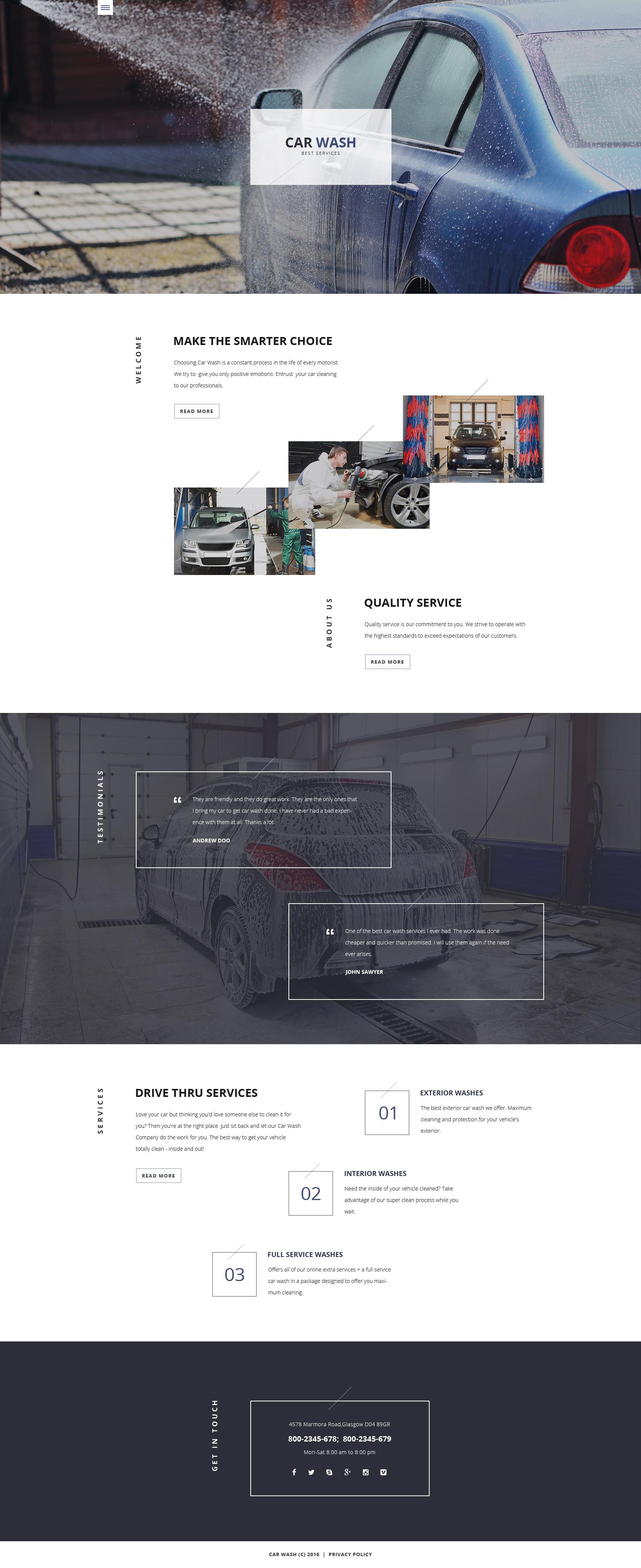 Plantilla Web Responsive para Sitio de Lavado de autos #58118
