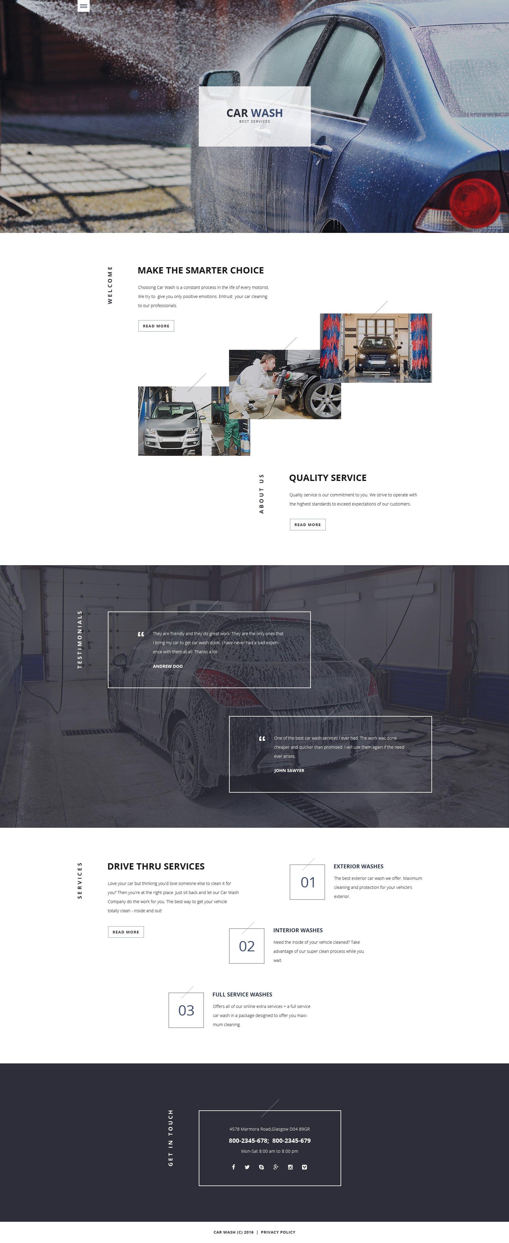 Responsywny szablon strony www #58118 na temat: myjnia samochodowa - zrzut ekranu