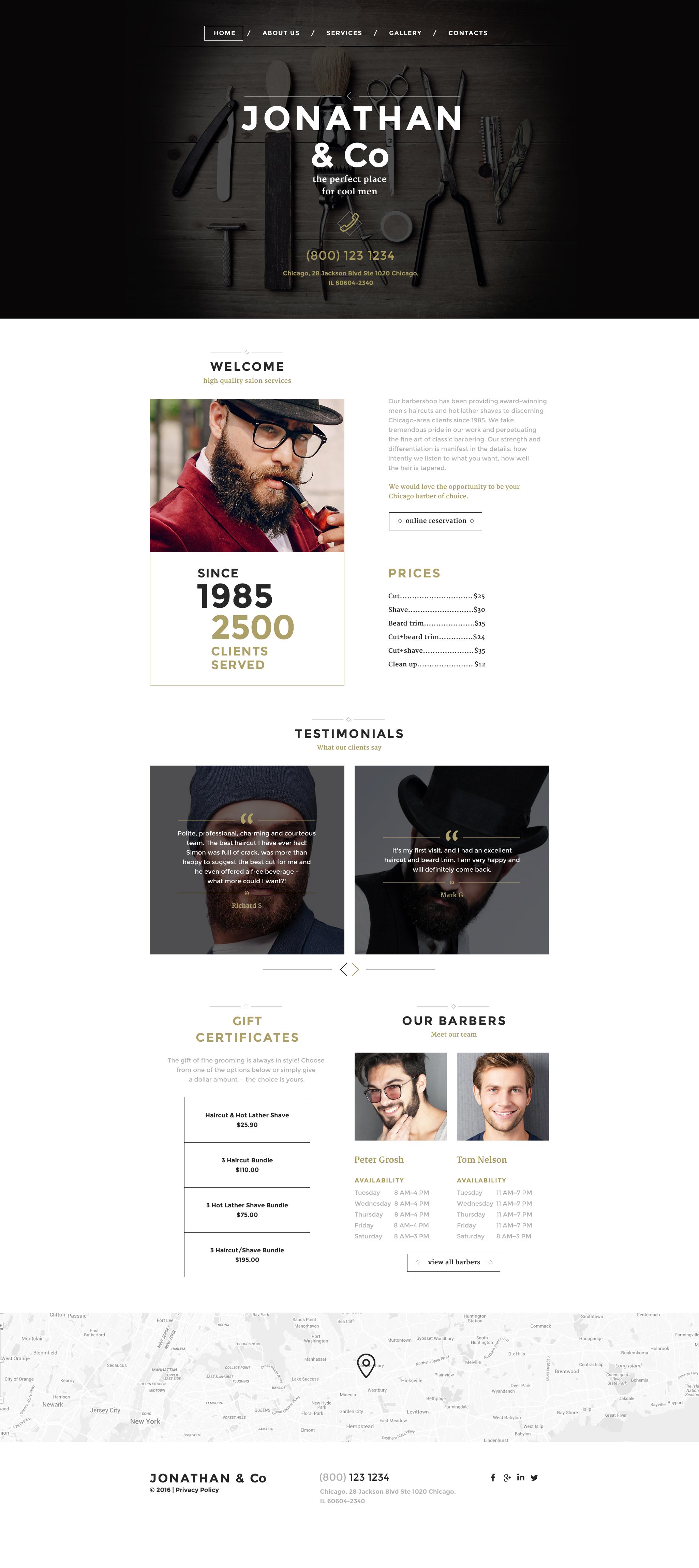 Responsywny szablon strony www #58144 na temat: salon fryzjerski
