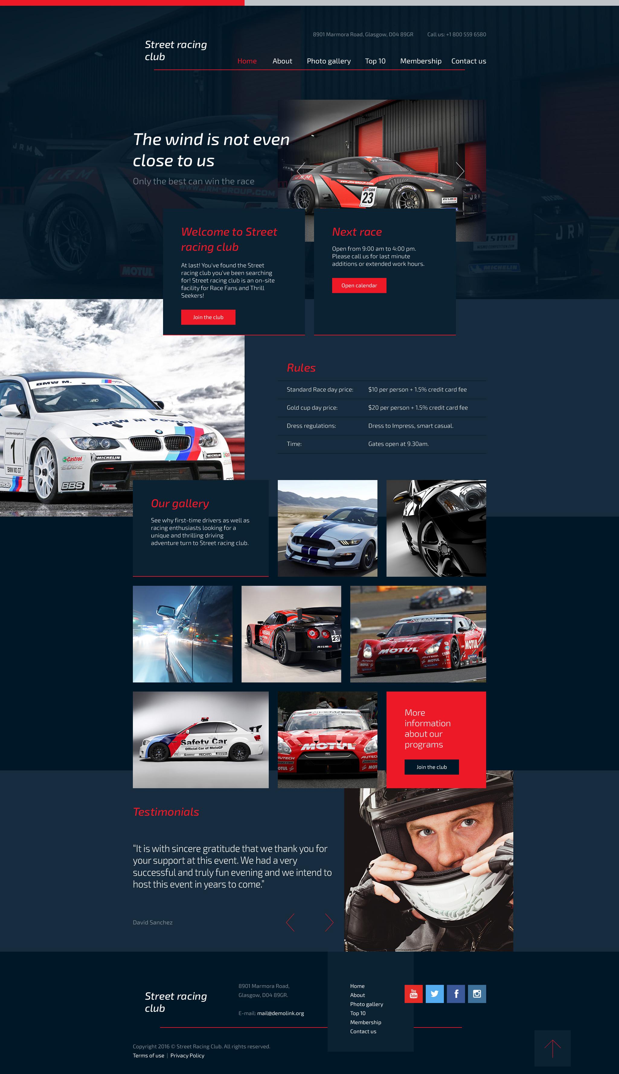 Responsywny szablon strony www #58188 na temat: klub motoryzacyjny