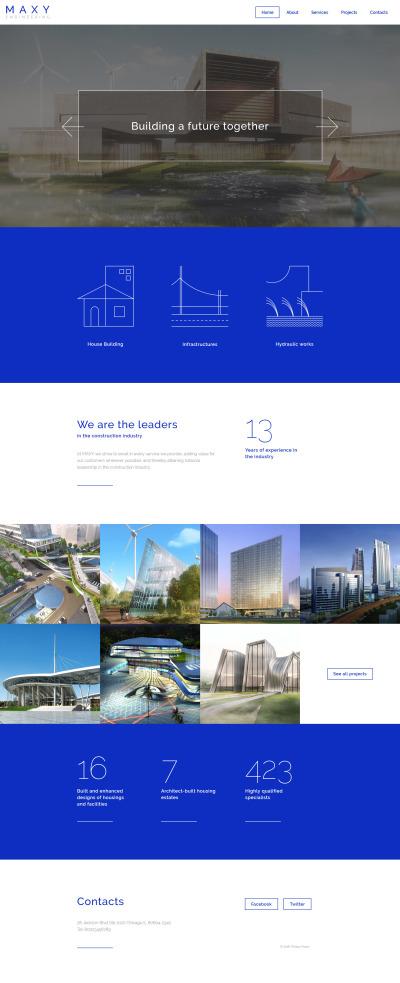 Responsywny szablon strony www #58107 na temat: inżynieria lądowa