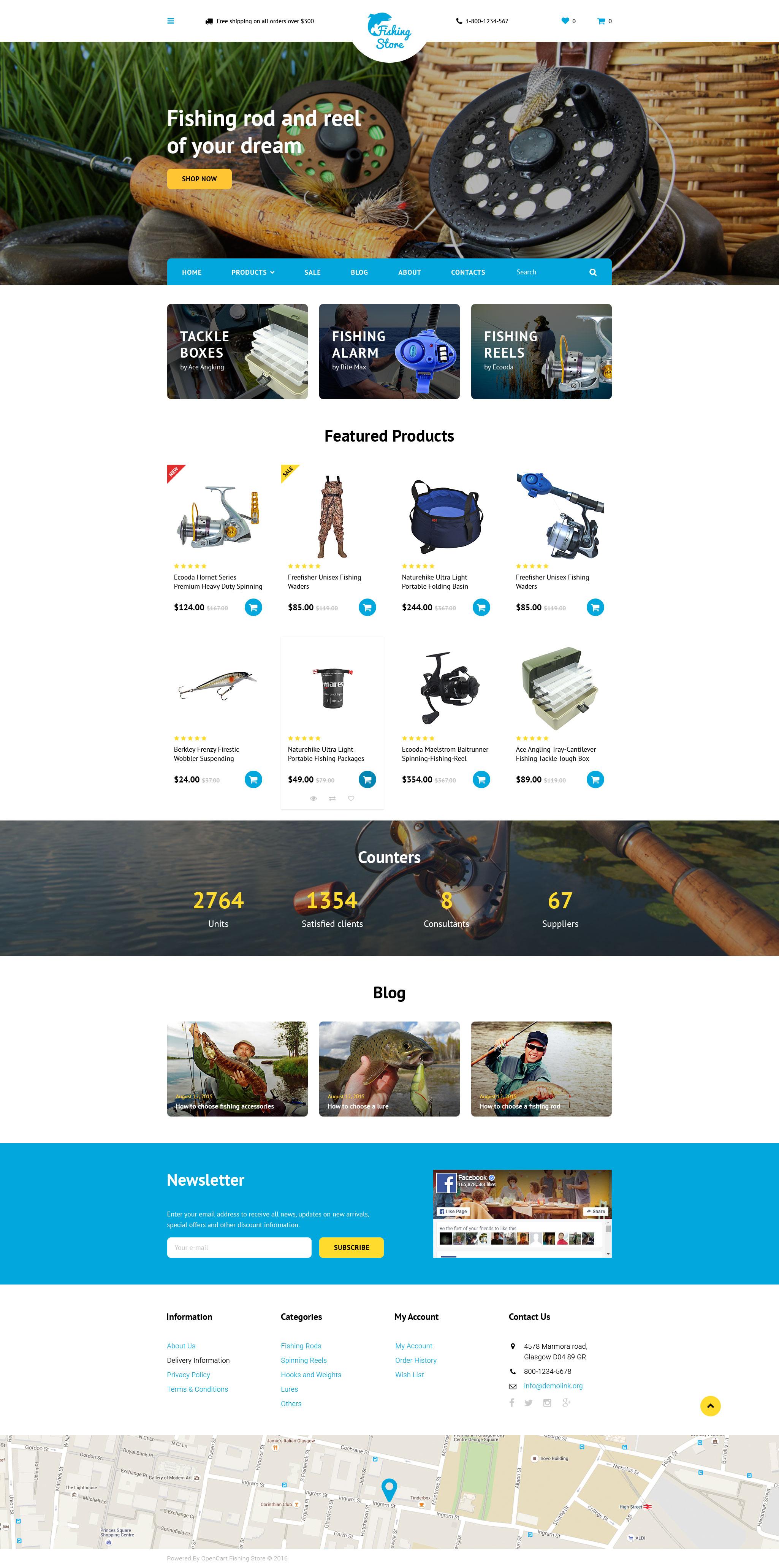 """Responzivní OpenCart šablona """"Fishing Store"""" #58127"""
