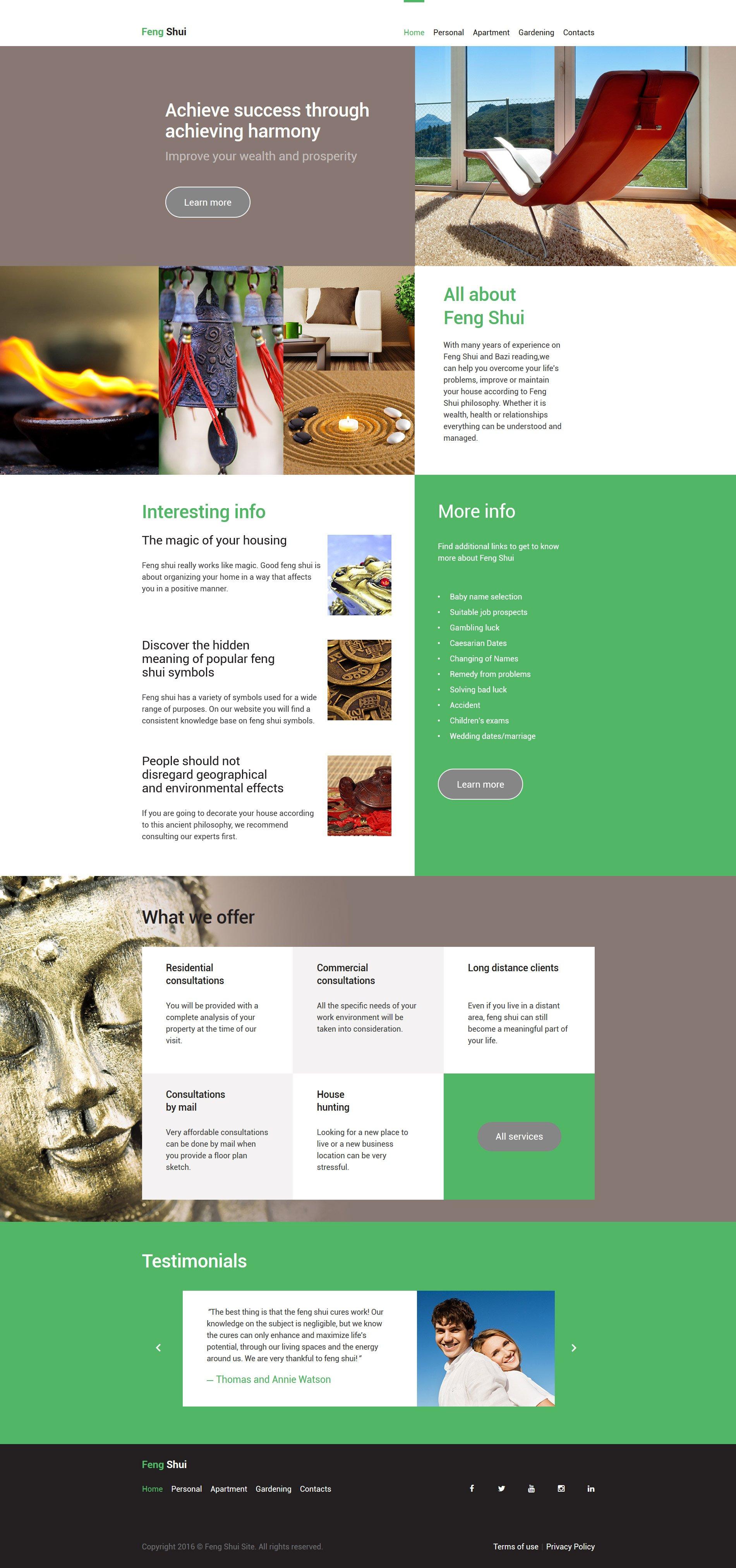Reszponzív Feng Shui Weboldal sablon 58175 - képernyőkép