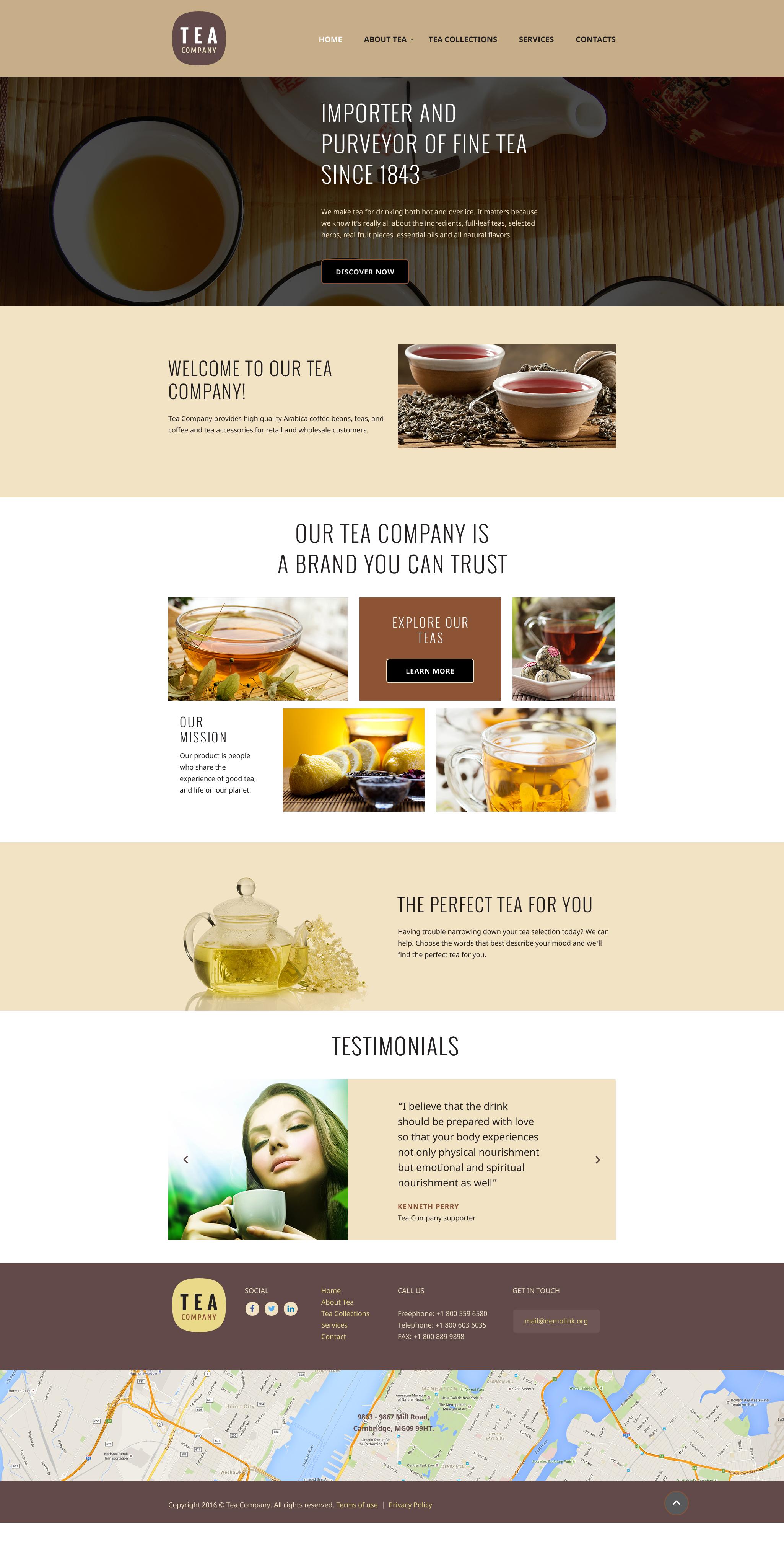 Reszponzív Tea Company Weboldal sablon 58114