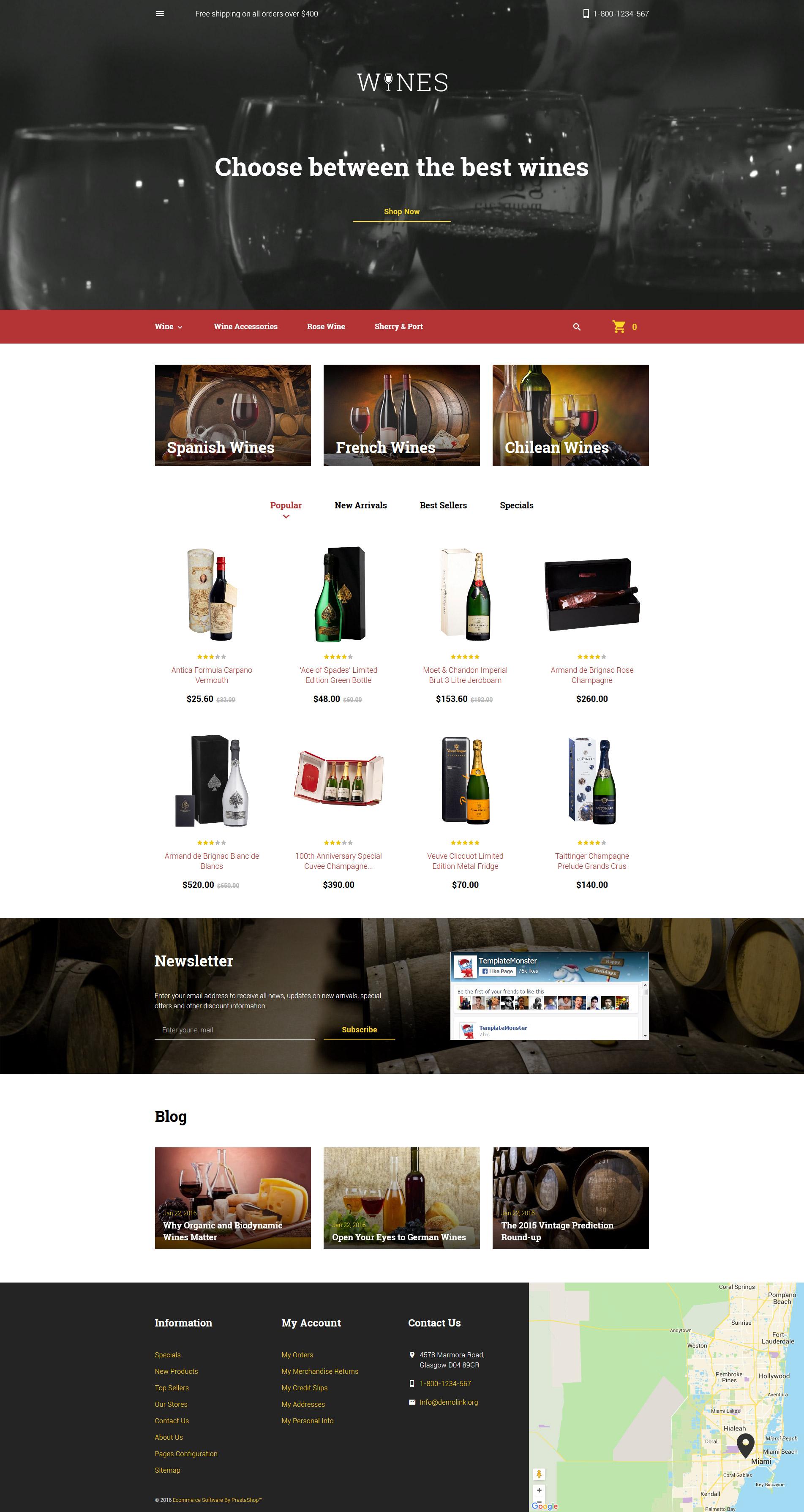 Reszponzív Wines PrestaShop sablon 58143
