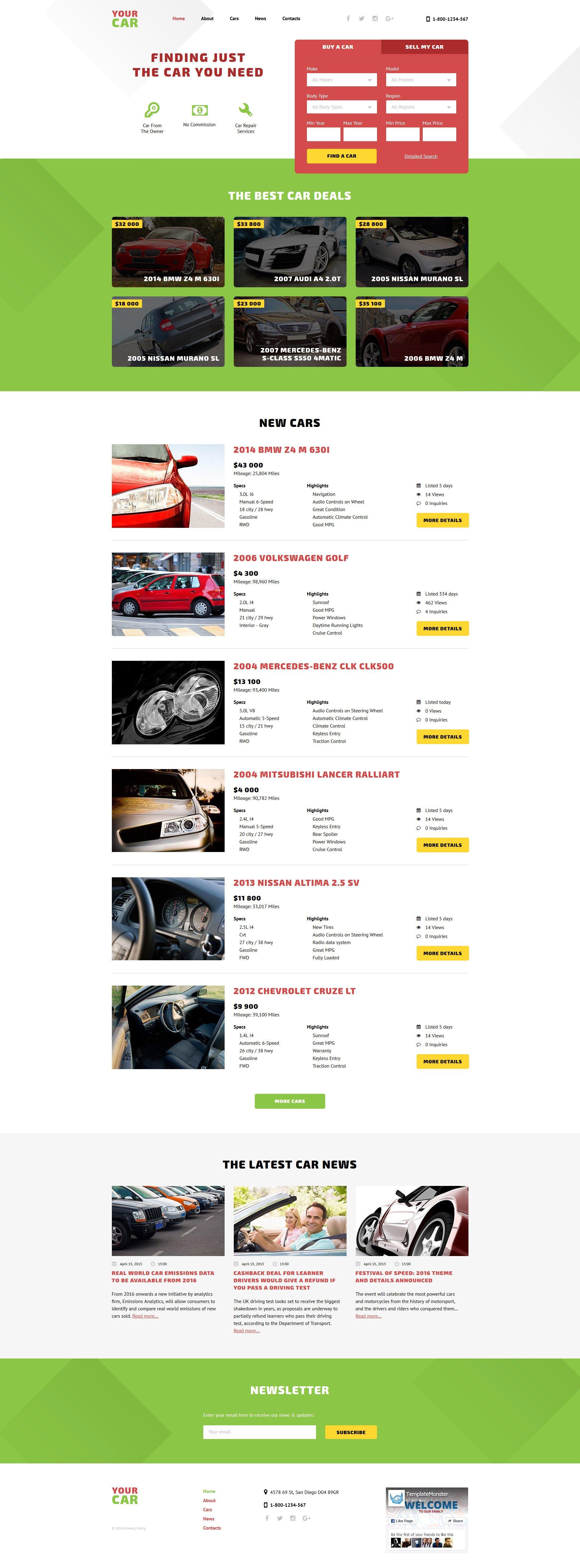 Reszponzív Your Car Weboldal sablon 58191