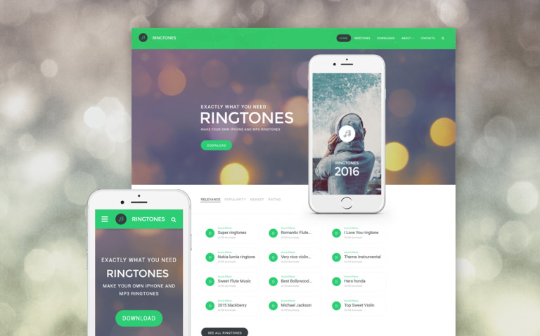 Ringtones Portal Website Template New Screenshots BIG