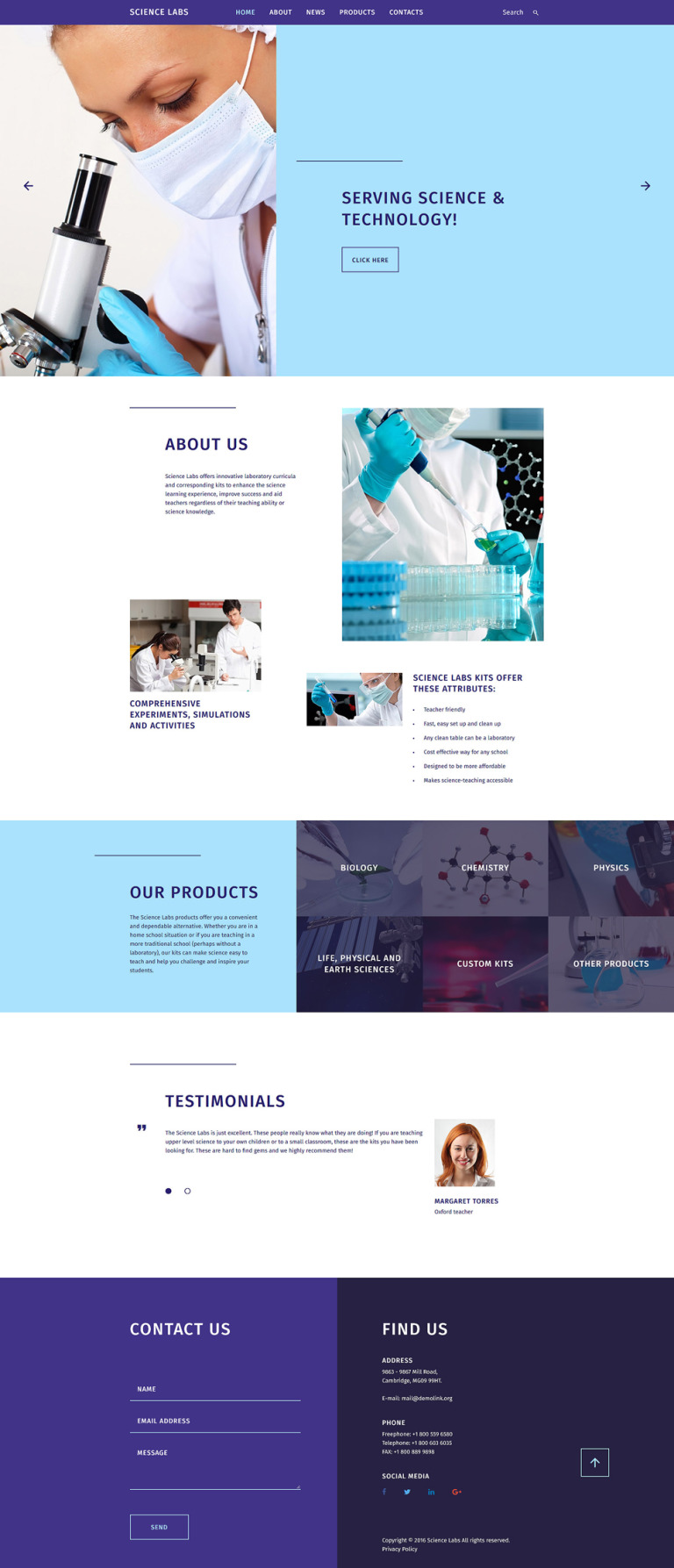 Science Labs Website Template New Screenshots BIG