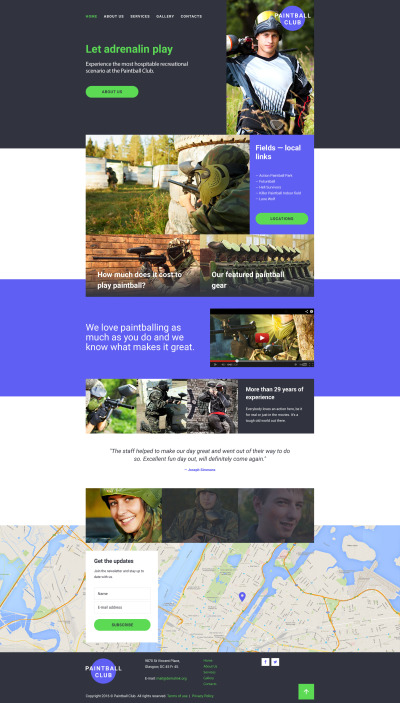 Paintball Responsive Template Siti Web