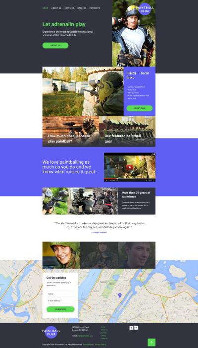 Responsive Website Vorlage für Paintball