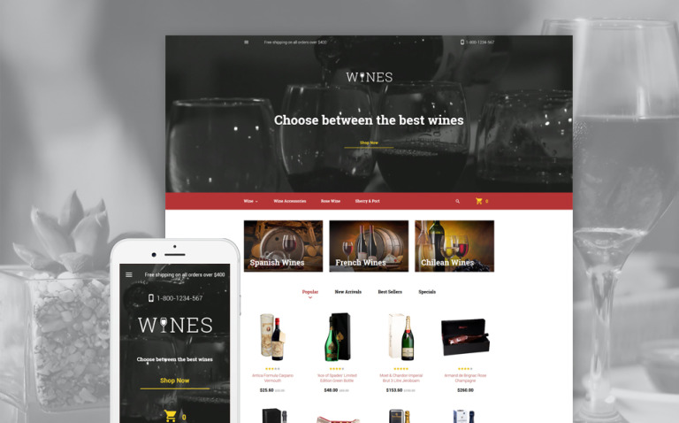 Wines PrestaShop Theme New Screenshots BIG