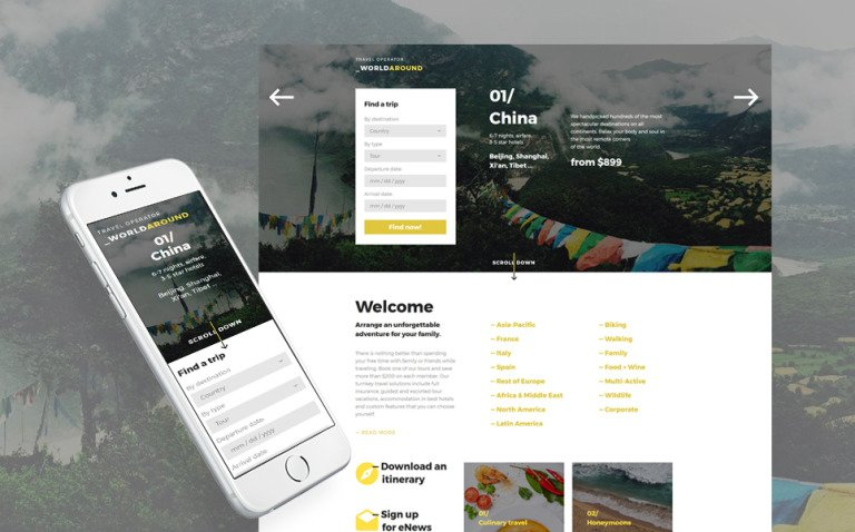 WorldAround - Travel Operator Landing Page Template New Screenshots BIG