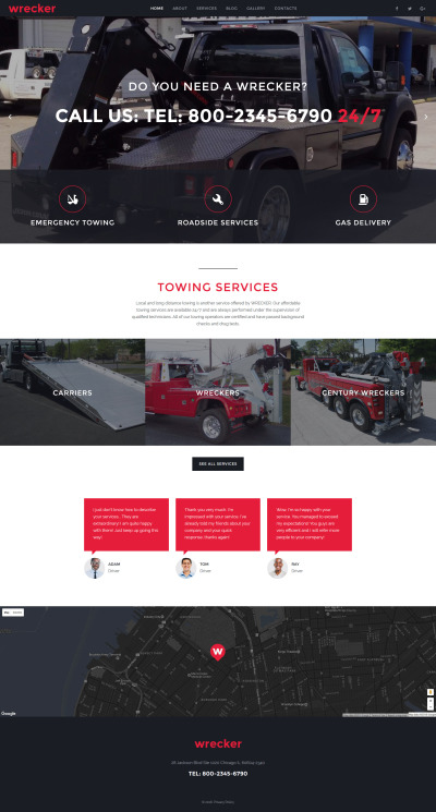 Wrecker - Auto Towing & Roadside Services Website Template