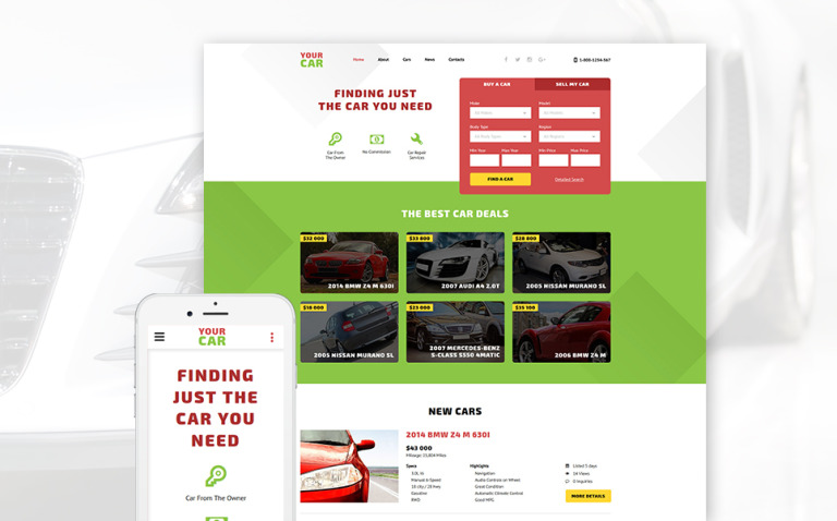 Your Car Website Template New Screenshots BIG