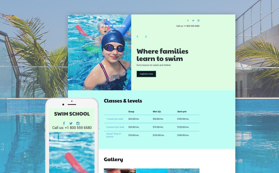 Reszponzív Úszóiskolák Nyítóoldal sablon New Screenshots BIG