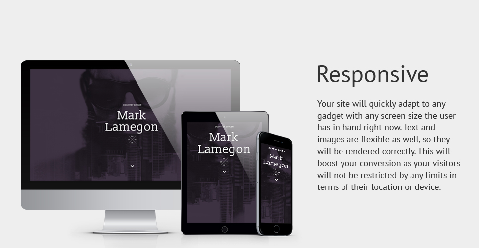 Singer Responsive Landing Page Template