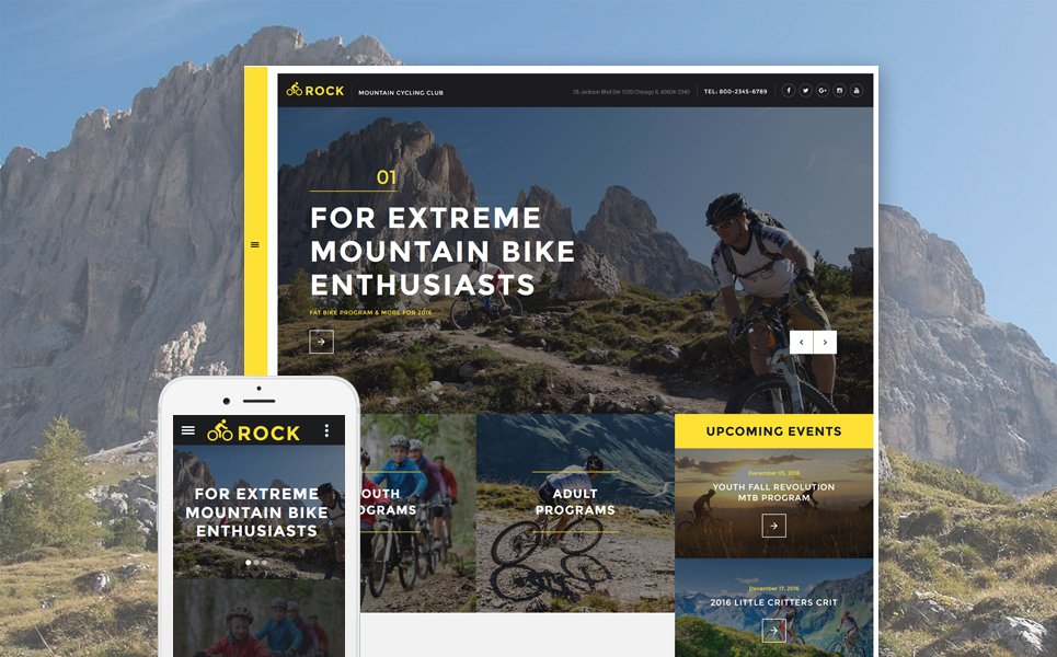 Rock - Mountain Cycling Club Responsive template illustration image