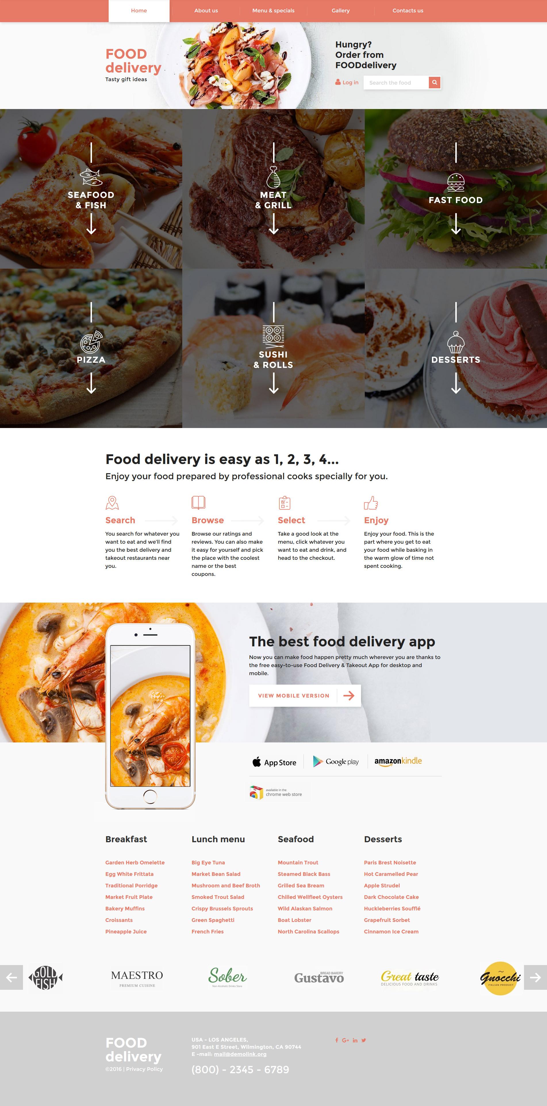 Адаптивний Шаблон сайту на тему громадське харчування №58276