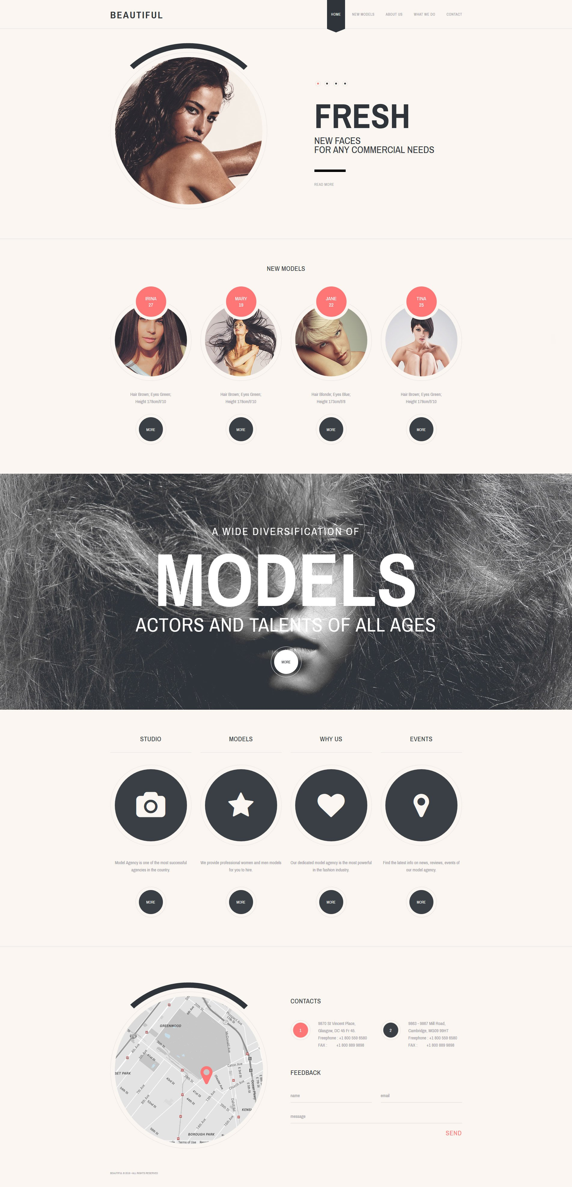 Адаптивный HTML шаблон №58255 на тему модельное агентство