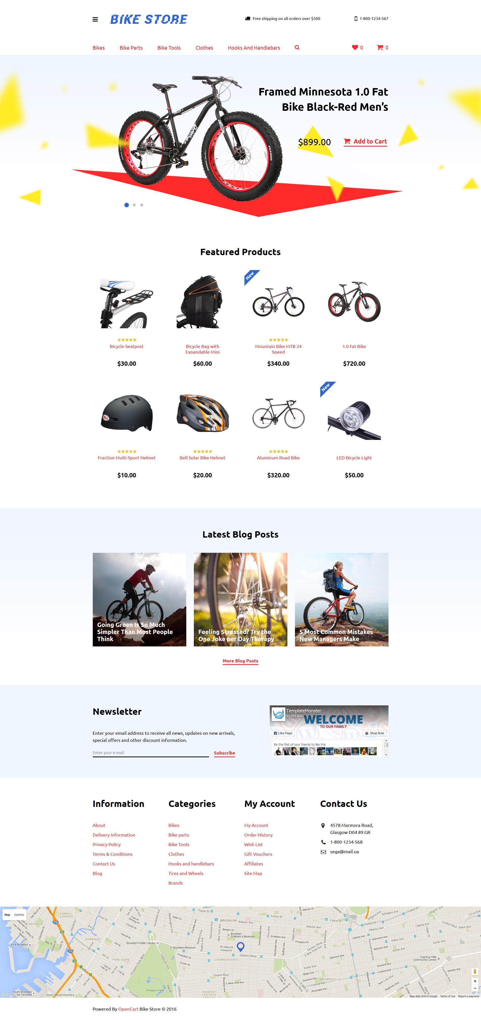 Адаптивный OpenCart шаблон №58232 на тему велоспорт