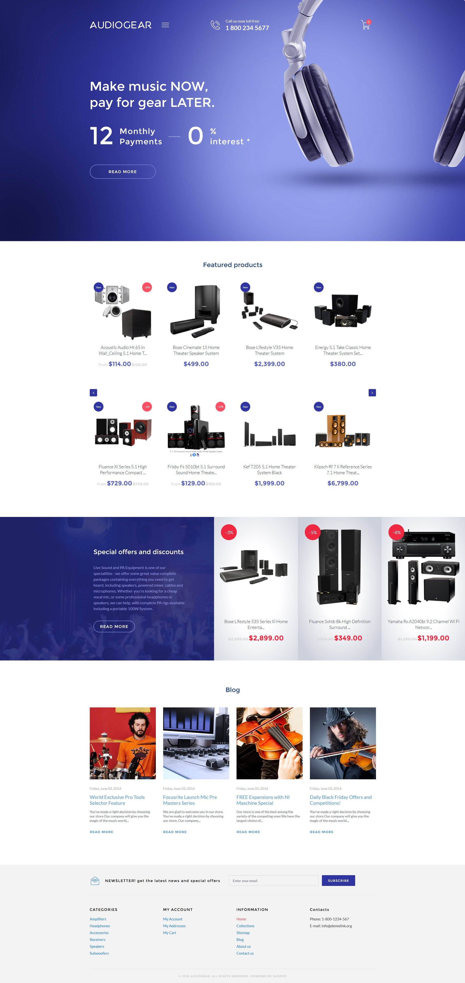 Audio Store Shopify Theme - Shopify website templates