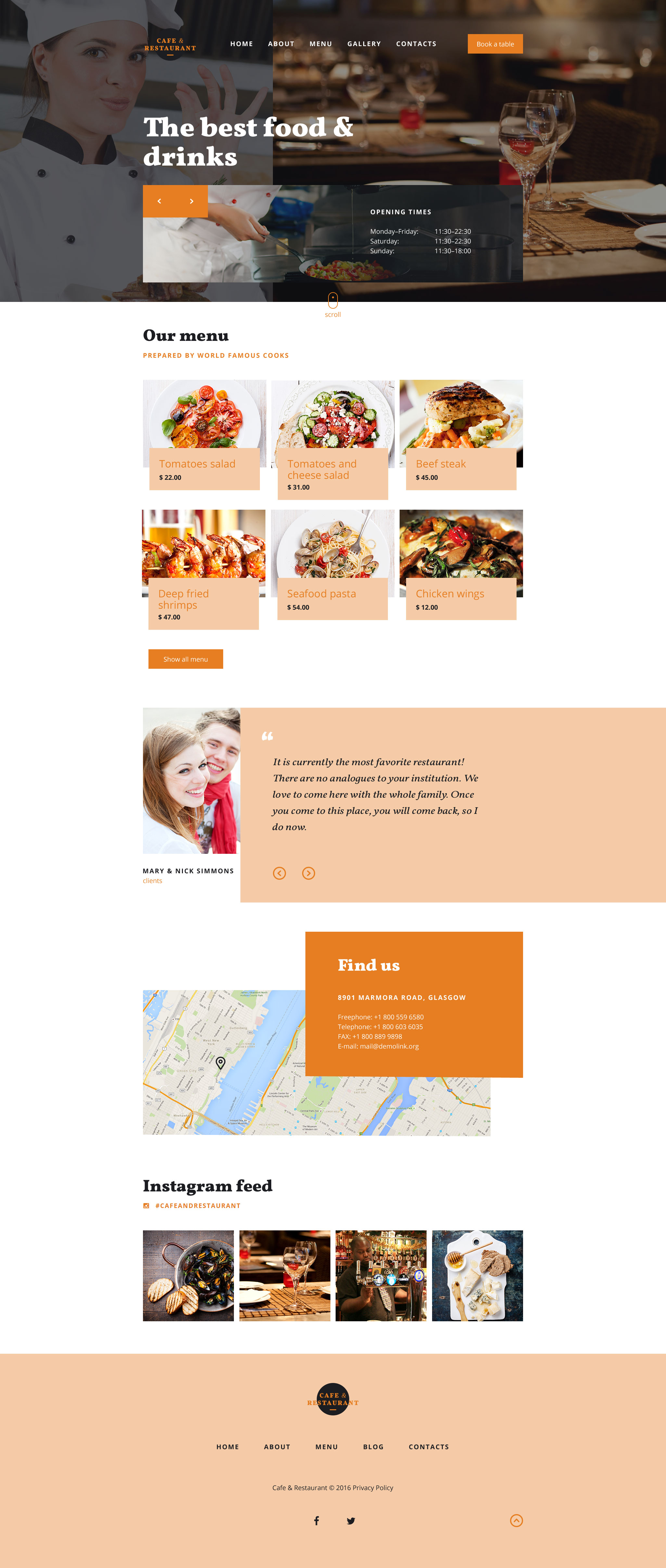 cafe and restaurant responsive website template 58219