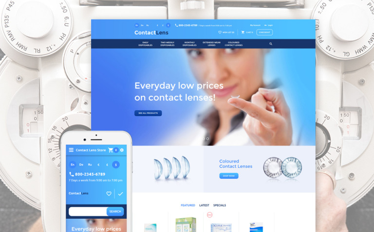 Contact Lens OpenCart Template New Screenshots BIG