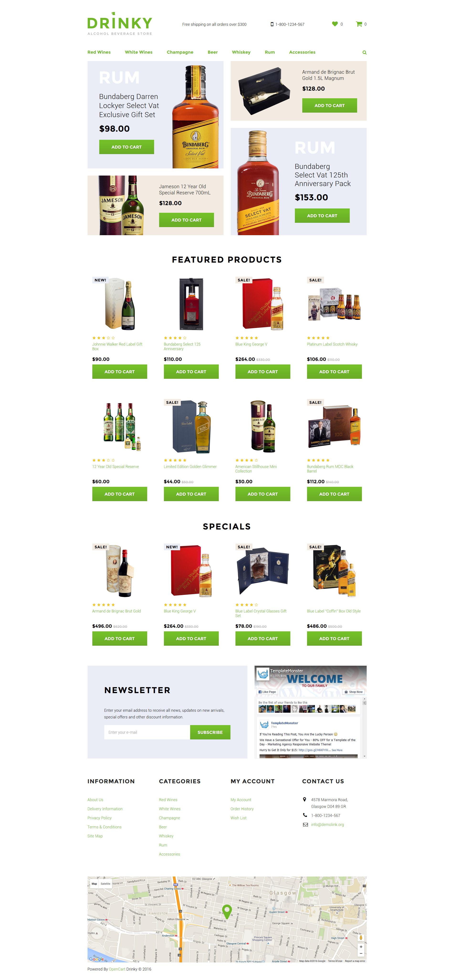 """Drinky"" - адаптивний OpenCart шаблон №58292 - скріншот"
