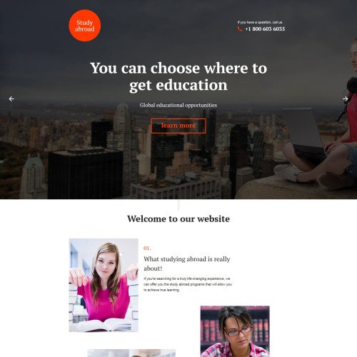 Study Abroad - Responsive Landing Page Template