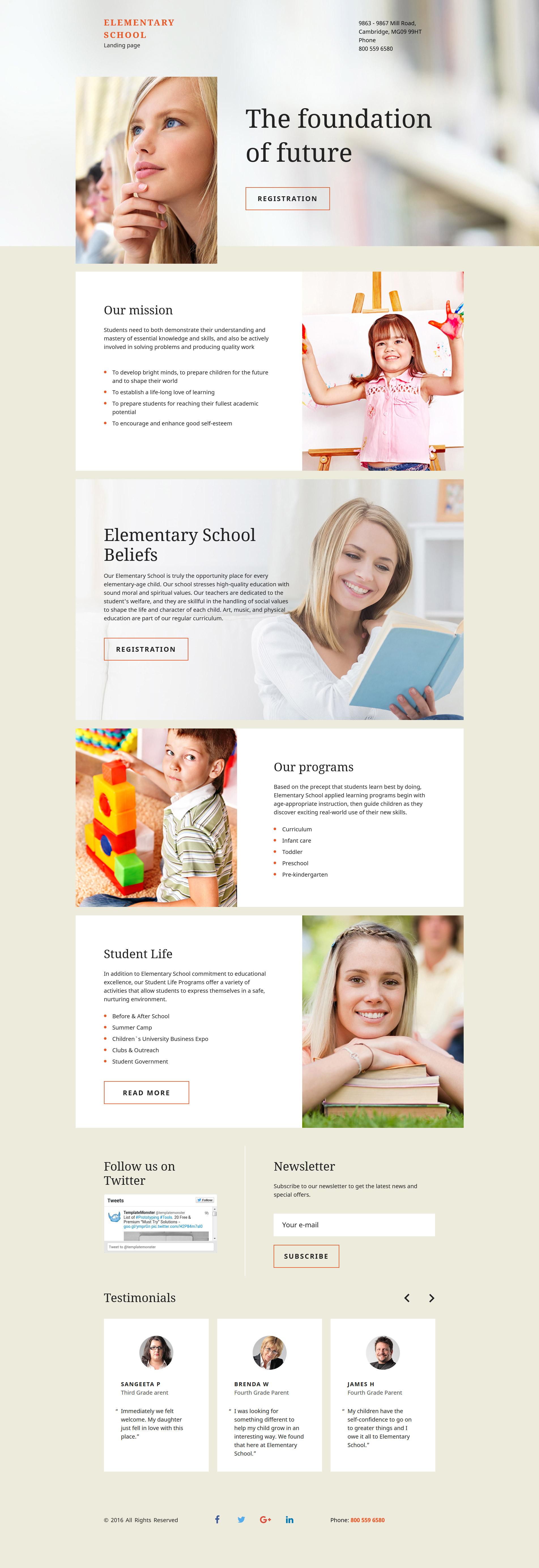 Elementary School Responsive Landing Page Template