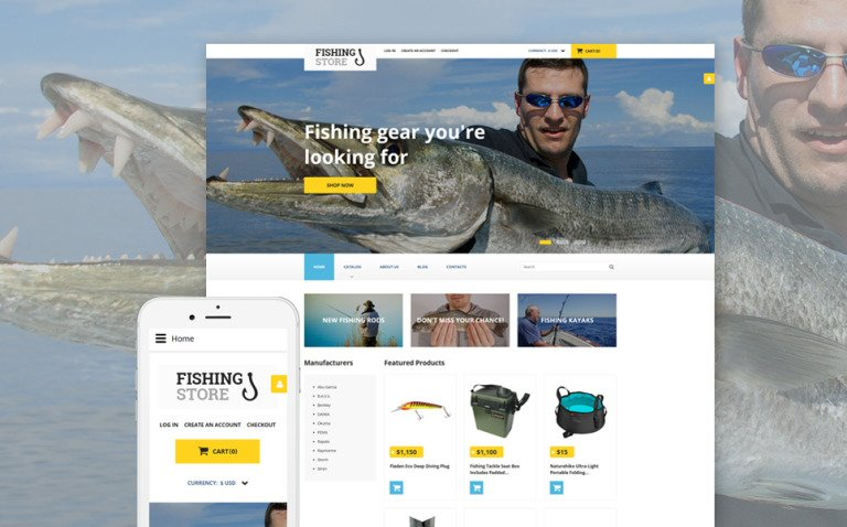 Fishing Responsive VirtueMart Template New Screenshots BIG