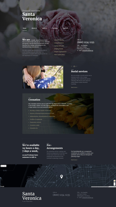 funeral services responsive website template #58201, Powerpoint templates