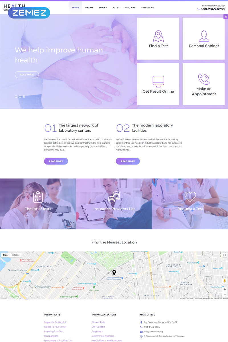 Health Diagnostic Laboratory Template Joomla №58282 - captura de tela