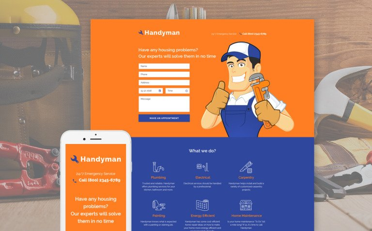 Home Repairs Responsive Landing Page Template New Screenshots BIG