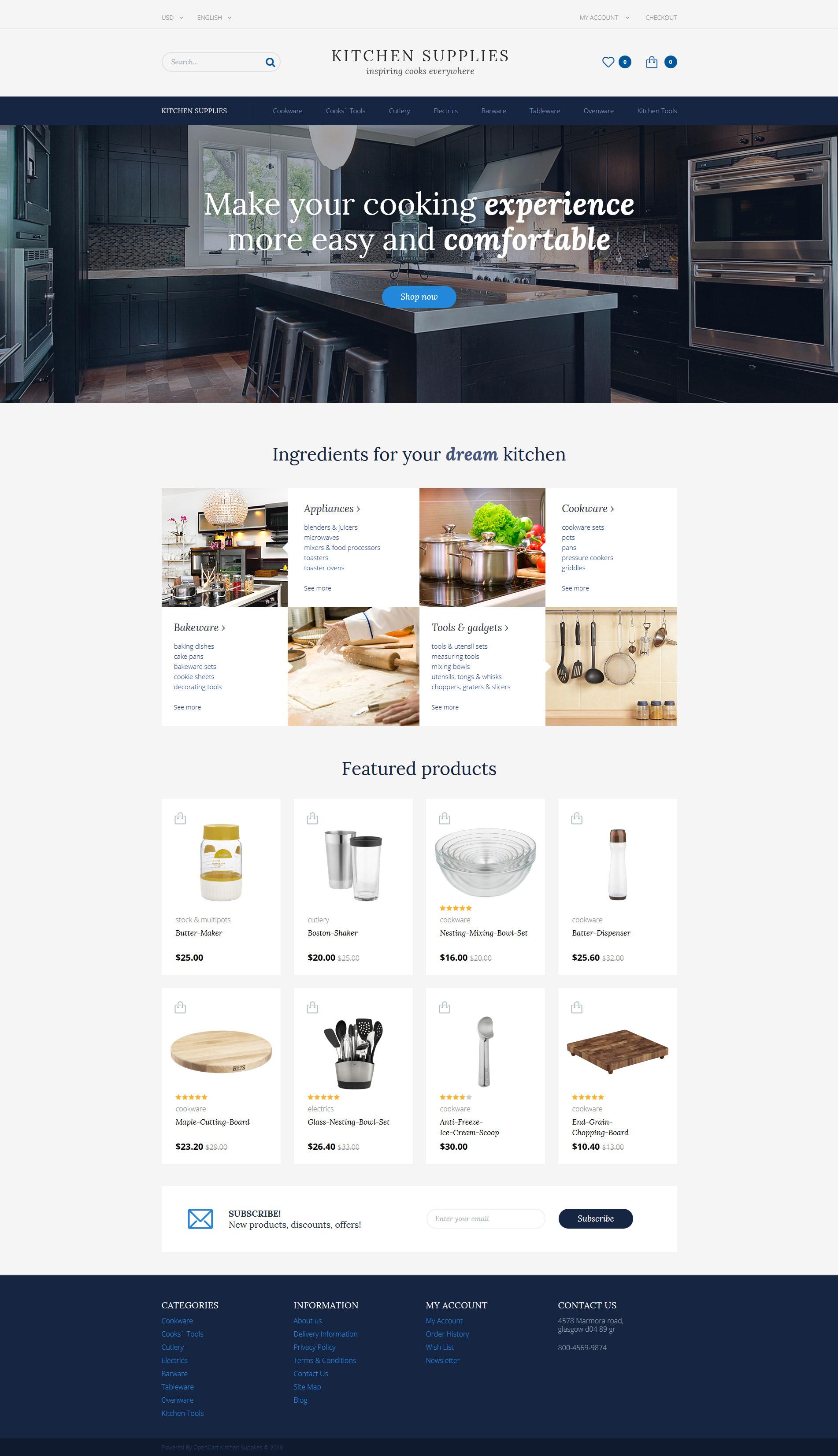 Kitchen Supplies OpenCart Template