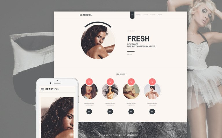 Model Agency Responsive Website Template New Screenshots BIG