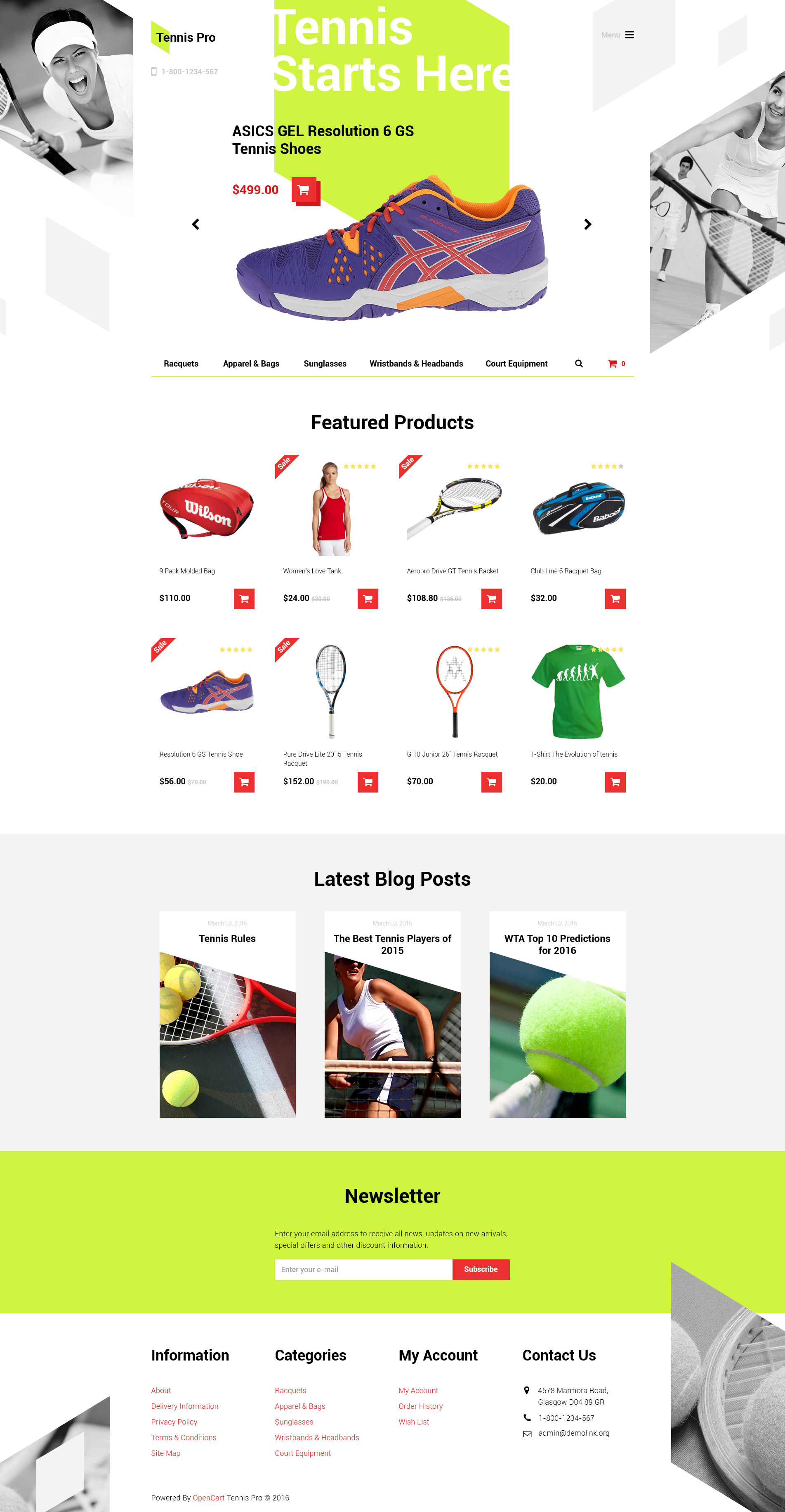 "Modello OpenCart Responsive #58286 ""Tennis Pro"""