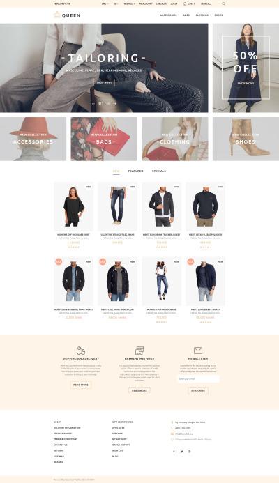 Адаптивный OpenCart шаблон №58258 на тему модный магазин