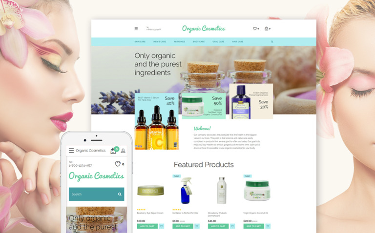 Organic Cosmetics OpenCart Template New Screenshots BIG