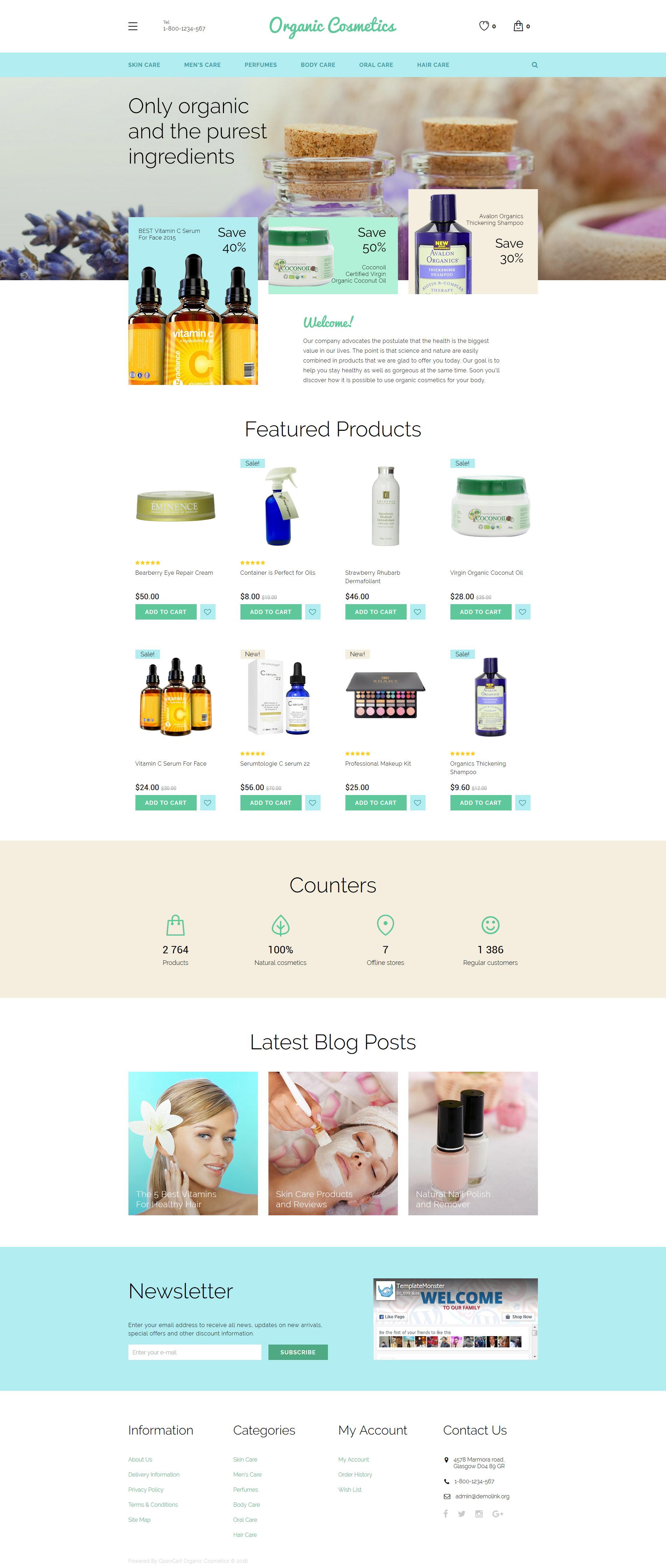 """Organic Cosmetics"" 响应式OpenCart模板 #58207"