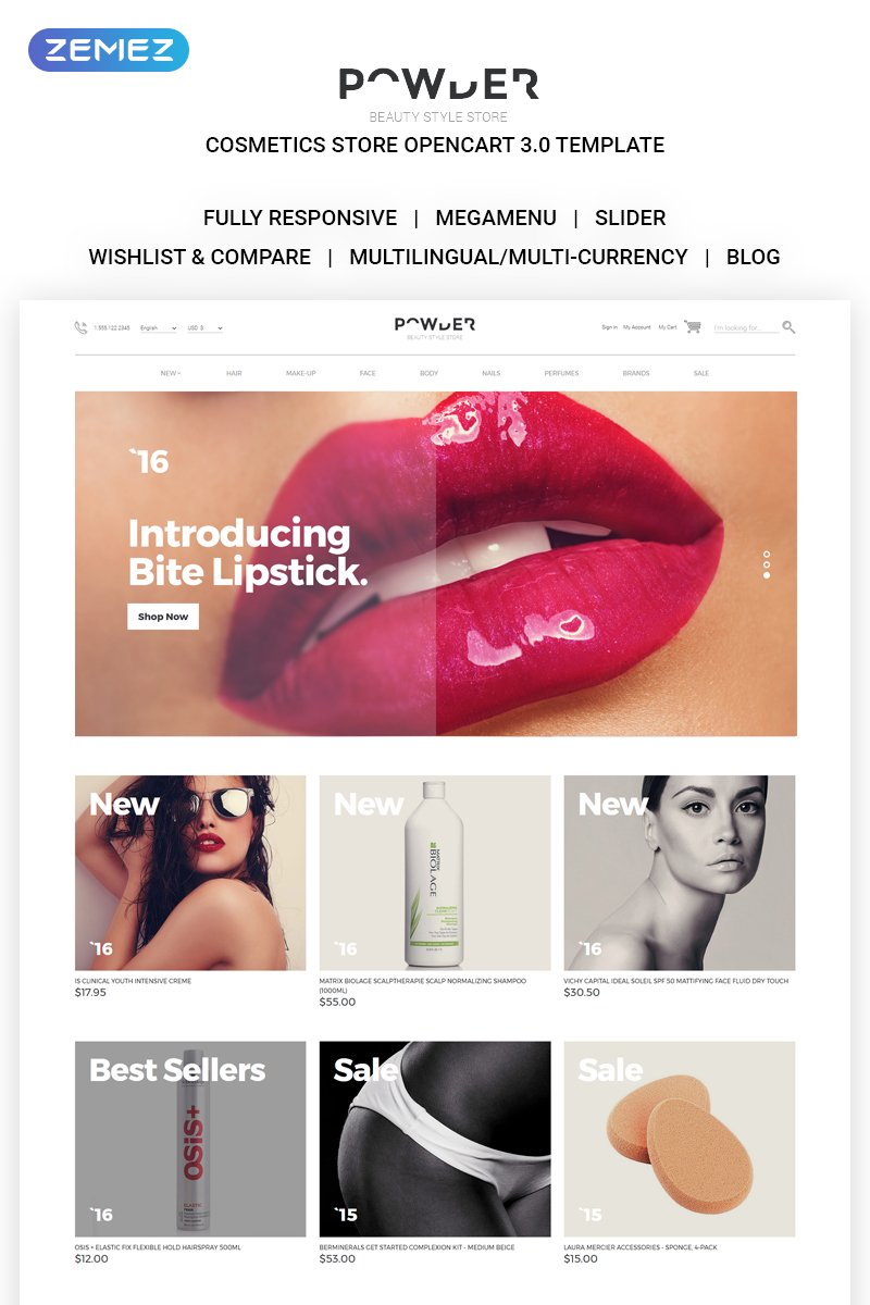 "Plantilla OpenCart ""Cosmetics Store Responsive"" #58240"