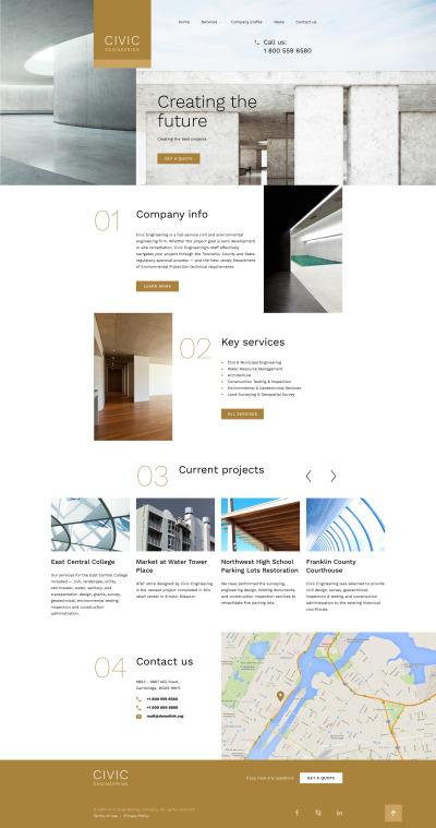 Responsive Plantilla Web #58263 para Sitio de  para Sitio de Ingeniería civil